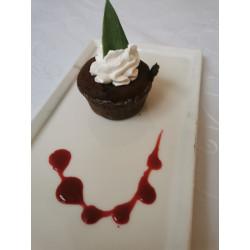 Super fondant chocolat coulis framboise et mousse mascarpone
