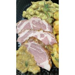 Collet de porc fumé et fèves des marais à la sariette